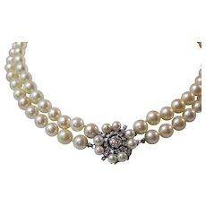 1950's Estate Double Strand Cultured Pearl & Diamond Clasp Wedding Necklace 14K