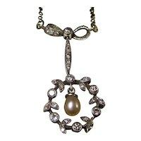 Art Deco Cultured Pearl Diamond Wedding Necklace 14K