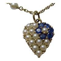 Estate Sapphire Cultured Pearl Heart Necklace 14K
