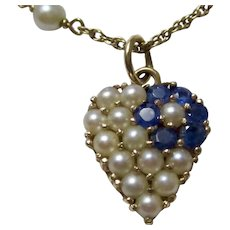 Estate Sapphire Cultured Pearl Heart Wedding Day Birthstone Necklace 14K