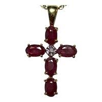 Vintage Ruby Diamond Cross Pendant 14K