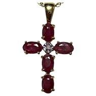 Vintage Wedding Day Birthstone Anniversary Ruby Diamond Cross Pendant 14K