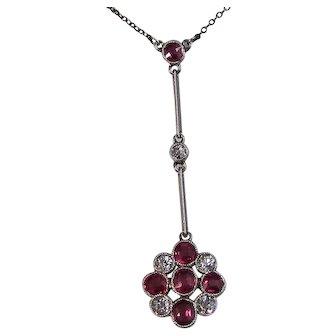 Antique Edwardian Natural Ruby & Diamond Lavaliere Wedding Birthstone Necklace Platinum
