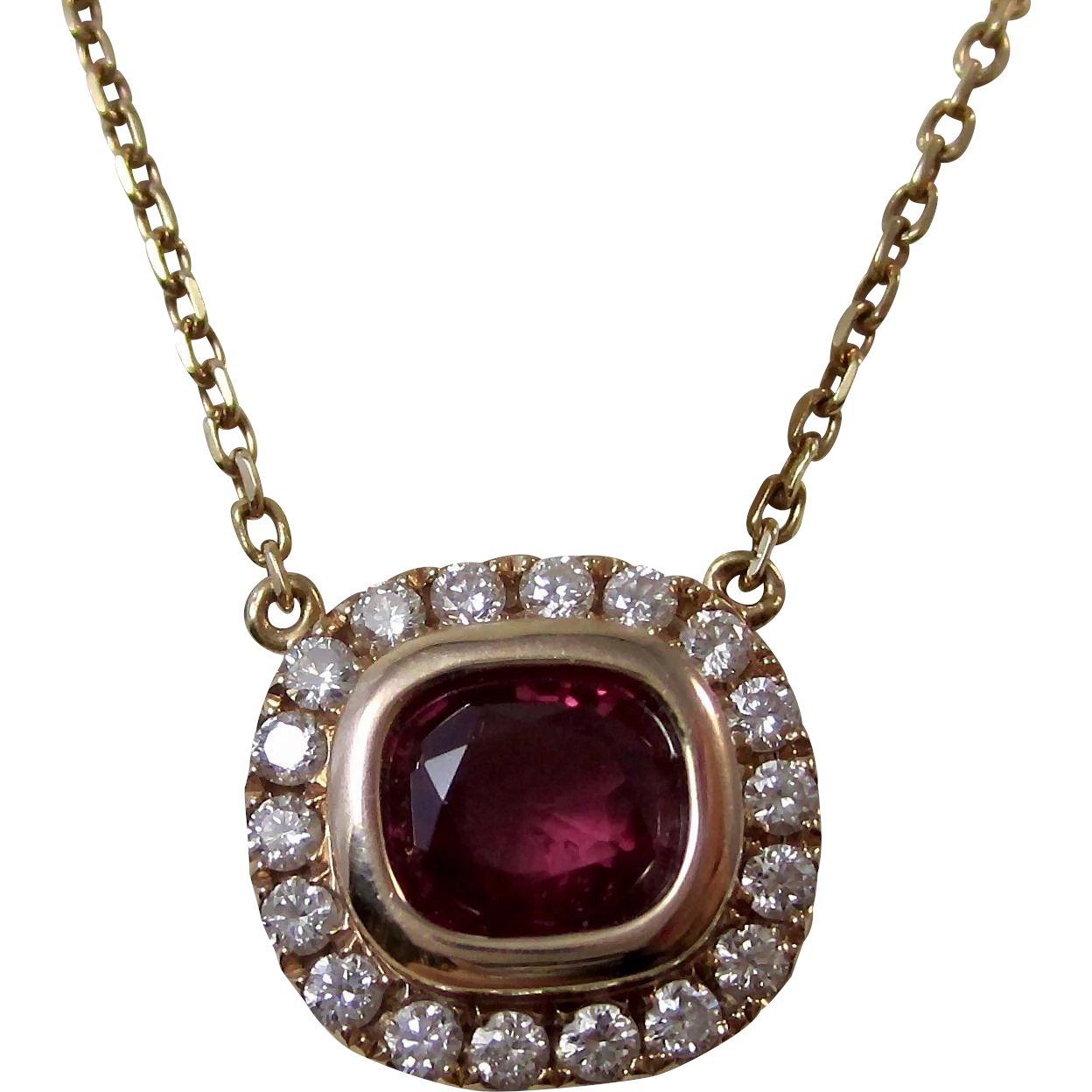 gold fancy ruby vintage item setting jewelry diamond for red gemstone specification wholesale women robira rose necklace prong pendants merchandise