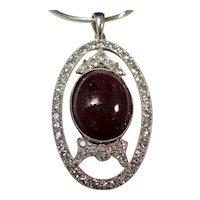 Antique Edwardian  14.98 Carat Ruby & Diamond Pendant 14K