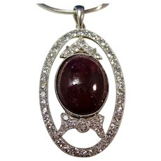 Antique Edwardian  14.98 Carat Ruby & Diamond Pendant 14K
