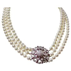 1950's Estate Cultured Pearl Triple Strand Necklace Large Ruby Diamond Clasp  14K