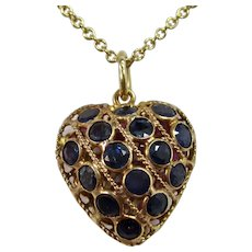 Vintage Ruby & Sapphire Reversible Heart Charm/Pendant 18K