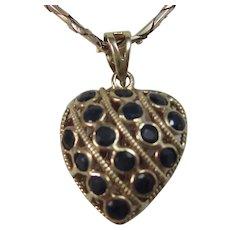 Vintage Estate Ruby & Sapphire Puffy Reversible Heart Pendant/Charm 14K