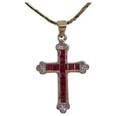 Vintage Estate Natural Ruby & Diamond Cross Pendant 14K
