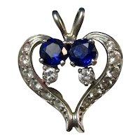 Vintage Estate Heart Shaped Sapphire Diamond Pendant 14K