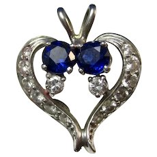 Vintage Estate Heart Shaped Sapphire Diamond Pendant 14K