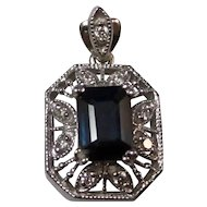 Vintage Estate Natural Sapphire & Diamond Wedding Day Birthstone Anniversary Pendant 14K