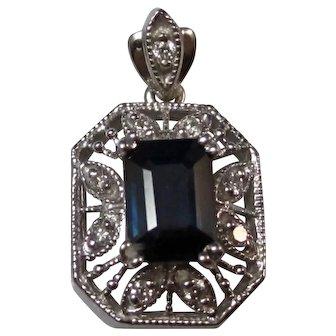 Vintage Estate Natural Sapphire & Diamond Wedding Day Birthstone Anniversary Pendant 14K