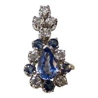 Vintage Estate Ceylon Sapphire Diamond Wedding Day Pendant 14K