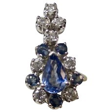 Vintage Estate Ceylon Sapphire Diamond Wedding Day Pendant 14K