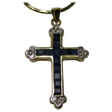 Vintage Estate 1960's Sapphire & Diamond Cross 14K