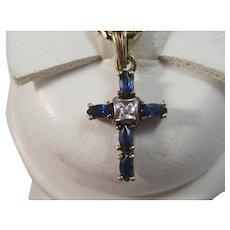 Vintage Estate Sapphire & Diamond Cross Pendant 14K