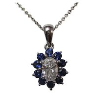 Sapphire & Diamond Estate Wedding Birthstone Necklace 14K