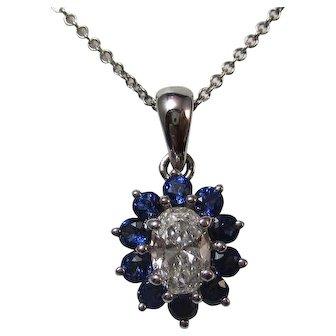 Sapphire & Diamond Estate Wedding Birthstone Necklace 14K