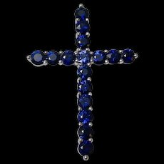 Estate Natural Sapphire Cross Pendant 18K