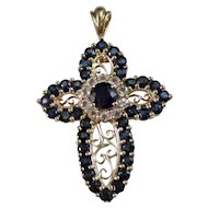 Vintage Estate Birthstone Anniversary Natural Sapphire & White Topaz Cross 14K