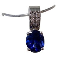 Vintage Wedding Day Birthstone Natural Tanzanite & Diamond Pendant 14K