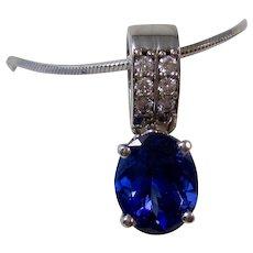 Vintage Wedding Day Birthstone Natural Tanzanite & Diamond Pendant 14K