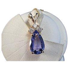 Natural Tanzanite Wedding Day Birthstone Diamond Pendant 14K