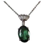 Vintage 1960's Birthstone Anniversary Wedding Day Tourmaline & Diamond Necklace 14K