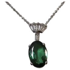 Vintage 1960's Tourmaline & Diamond Necklace 14K