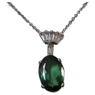 Vintage 1960's Birthstone Anniversary Wedding Day Tourmaline & Diamond Necklace 14K