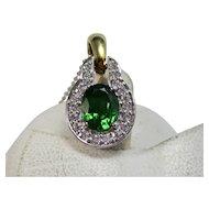 Vintage Estate Natural Chrome Green Tourmaline & Diamond Pendant
