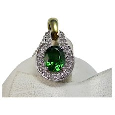Vintage Estate Natural Chrome Green Tourmaline & Diamond Pendant