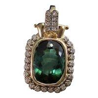 Vintage Estate Green Tourmaline Diamond Pendant Enhancer 14K