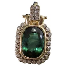 Vintage Estate Green Tourmaline Diamond Pendant Enhancer 14K