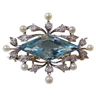 Antique Edwardian Kohn 8.00 Carat Aquamarine, Diamond, Pearl Wedding Birthstone Anniversary Brooch/Pendant 14K Gold & Platinum
