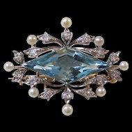 Antique Edwardian Kohn 8.00 Carat Aquamarine, Diamond, Pearl Wedding Birthstone Anniversary Brooch/Pendant 14K Gold & Platinum