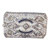 Art Deco Vintage 1920's Sapphire, Diamond Birthstone Wedding Anniversary Brooch Platinum & 14K Gold