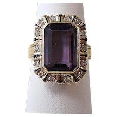 Natural Amethyst & Diamond 1940's Ring 14K