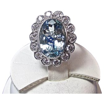 Natural Aquamarine & Diamond Estate Engagement Wedding Birthstone Anniversary Halo Ring Platinum