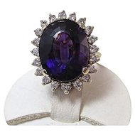 Natural Amethyst & Diamond Halo Estate Engagement Birthstone Wedding Ring 14K