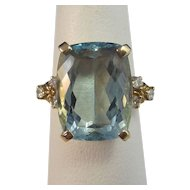 Natural Aquamarine Diamond 1940's Estate Birthstone Engagement Ring 14K