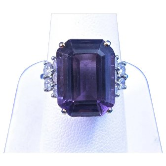 Natural Amethyst & Diamond Estate 1960's Engagement Wedding Birthstone Ring 18K