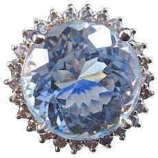 Huge Natural Aquamarine & Diamond 1950's Estate Birthstone Engagement Wedding Halo Ring 14K