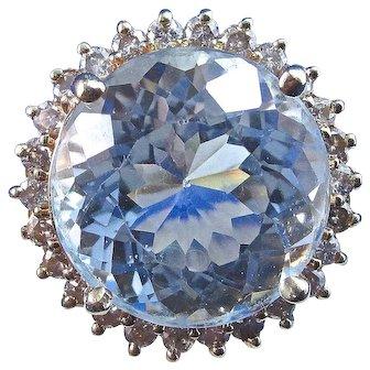 Natural Aquamarine & Diamond 1950's Estate Birthstone Engagement Wedding Halo Ring 14K