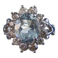 Estate 1960's Aquamarine Diamond Birthstone Ring 14K White Gold