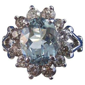 Estate 1960's Aquamarine Diamond Engagement Anniversary Birthstone Ring 14K White Gold