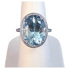 Natural Aquamarine & Diamond Estate Engagement Wedding Birthstone Ring, 14K