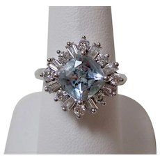 Estate Aquamarine & Diamond Engagement Birthstone Anniversary Ring 18K